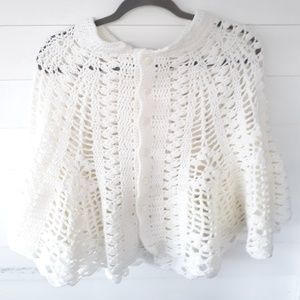 Vintage White Crocheted Cape Shawl